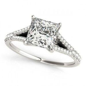 Jewelry - 14k White Gold Diamond Princess CutEngagement Ring
